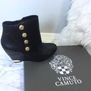 Vince Camuto Black Leather Huxley Wedge Booties